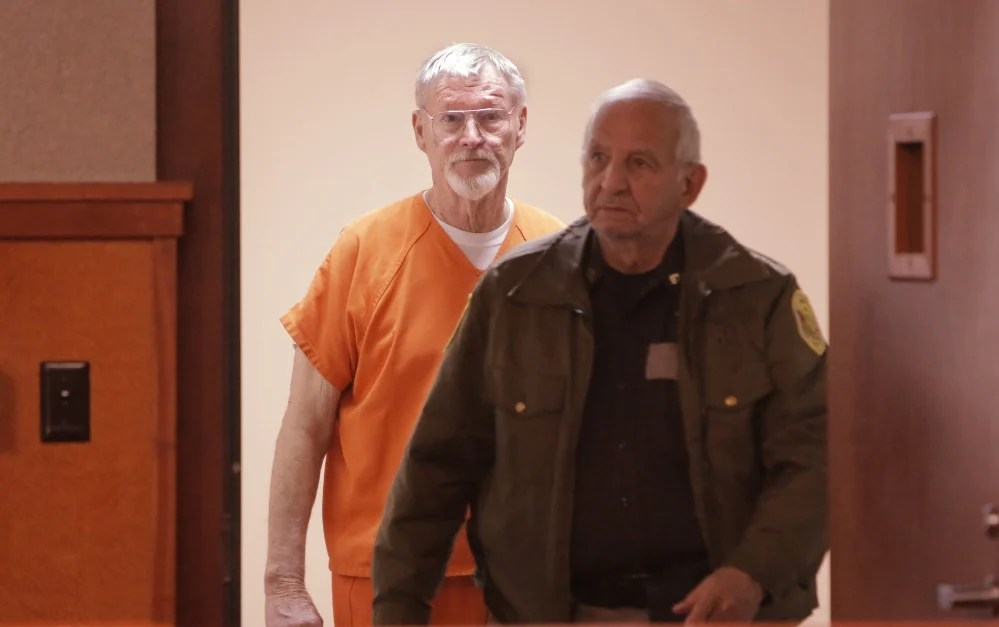 """Merrill """"Mike"""" Kimball enters the courtroom Friday for sentencing in the shooting death of Leon Kelley."""