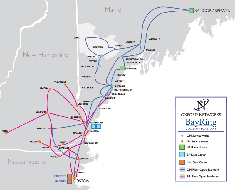 A map provided by Oxford Networks and Bayring Communications shows the combined data infrastructure of the two companies as it would operate after their merger.