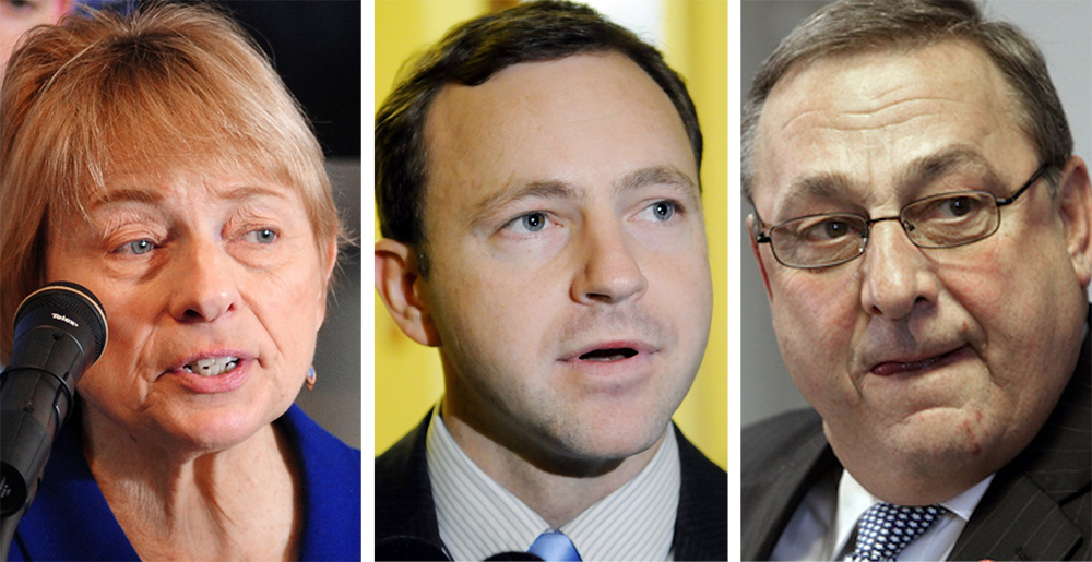 """Gov. Paul LePage says he stands by his tactics blocking the appointment of House Speaker Mark Eves, center, as president of Good Will-Hinckley school – tactics that Attorney General Janet Mills, left, says she finds  """"troubling."""""""