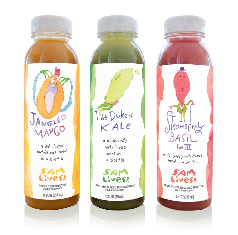 The new Sam Lives! smoothies come in three flavors, Jangled Mango, The Duke of Kale and Strawberry Basil the III.