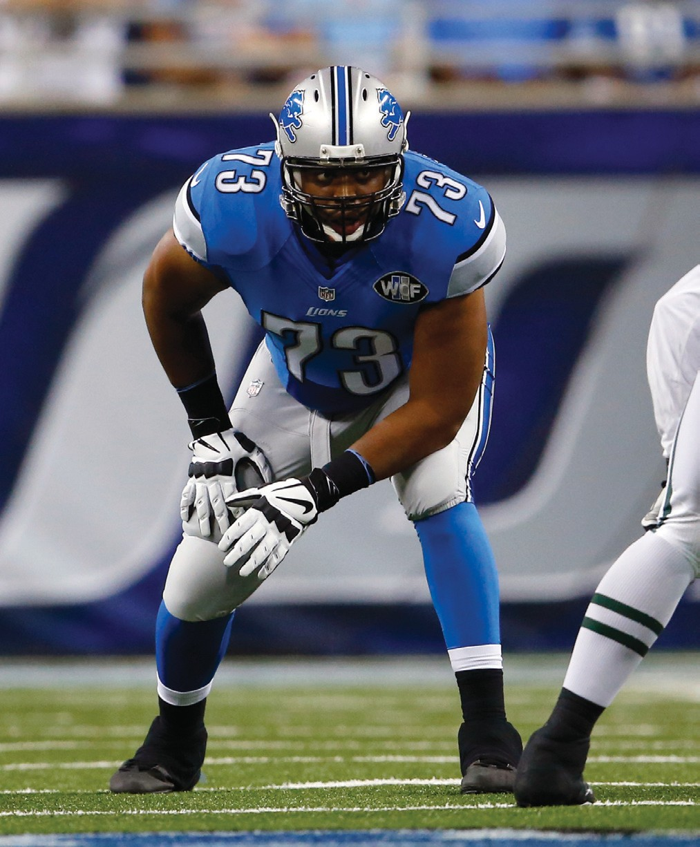 Detroit Lions tackle Michael Williams (73) lines up on the line of scrimmage against the New York Jets during an NFL preseason football game Aug. 13 in Detroit.