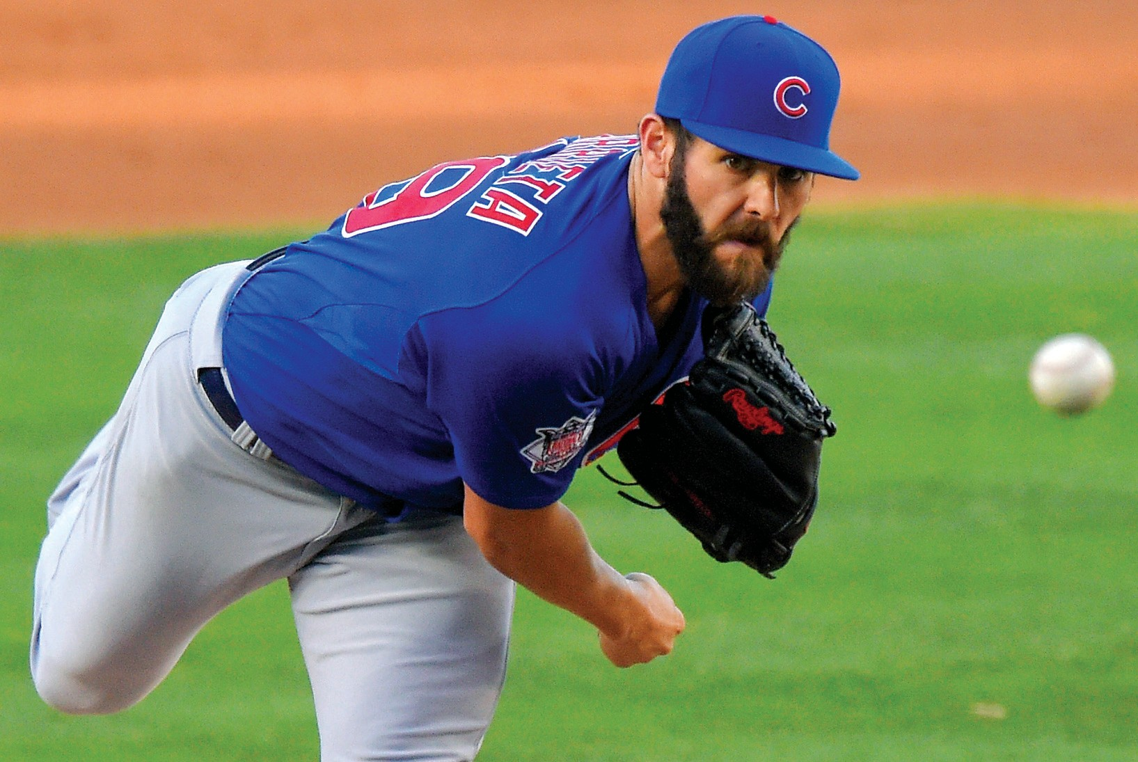 Chicago Cubs starting pitcher Jake Arrieta throws to the plate during the second inning of a game against the Los Angeles Dodgers, Sunday. Arrieta tossed a no-hitter as the Cubs beat the Dodgers, 2-0.
