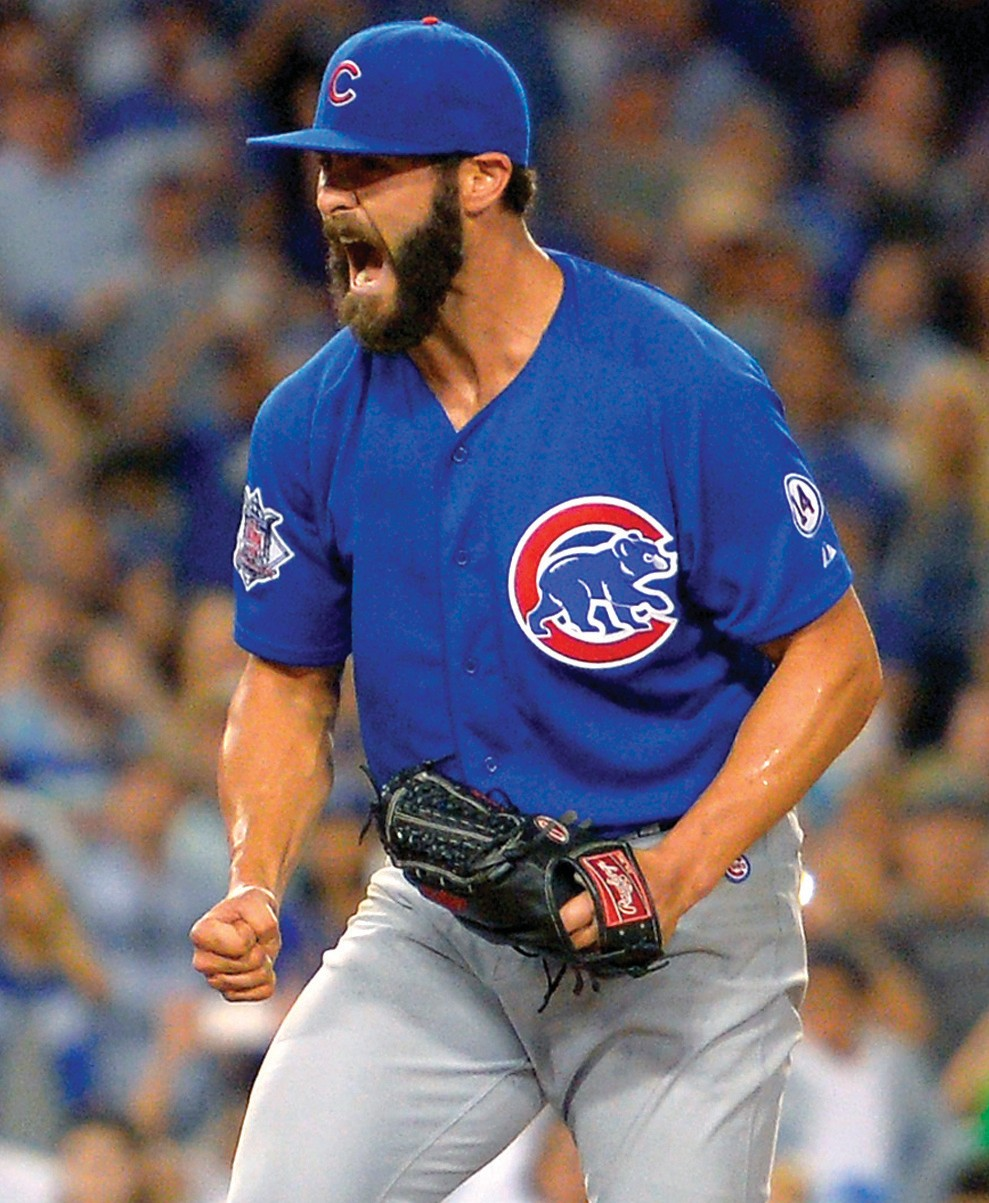 Chicago Cubs starting pitcher Jake Arrieta celebrates after completing a no-hitter in a baseball game against the Los Angeles Dodgers, Sunday.