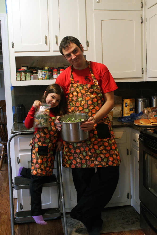 """Squashed chef Vic Robinson and daughter Kayleigh Voyles produce a YouTube show called """"Cooking With Kaleigh."""" Courtesy photo"""