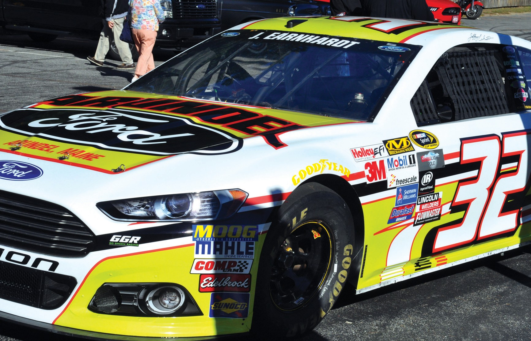 The NASCAR Sprint Cup Series car co-owned by Old Orchard Beach native Archie St. Hilaire and driven by Jeffrey Earnhardt is displayed outside Bentley's Saloon in Arundel during a meet-and-greet session Wednesday.