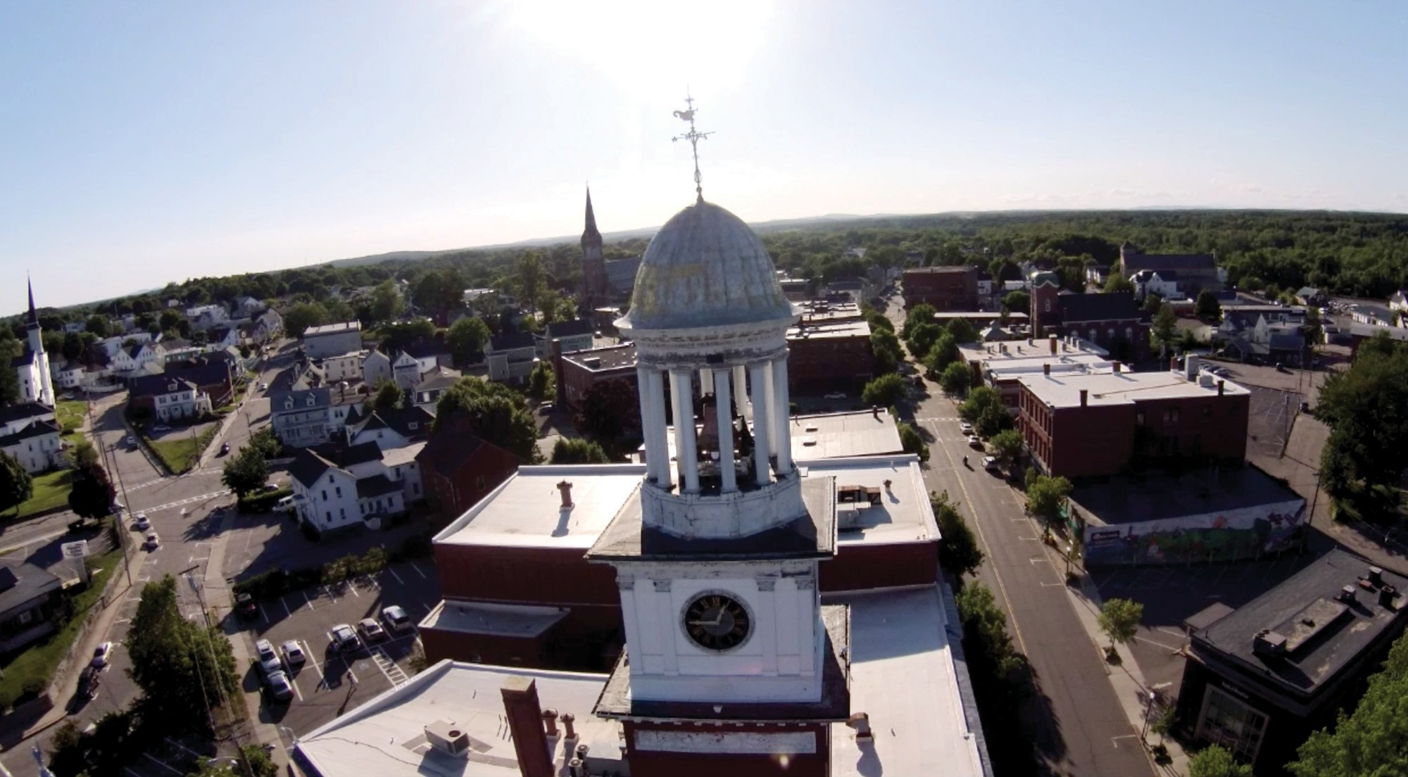The Biddeford City Hall clock tower is pictured in a video taken about a year ago using Deputy Fire Chief Paul LaBrecque's drone. City officials hope the video will help convince voters to approve a bond in November that would pay for the restoration of the 120-year-old clock tower.
