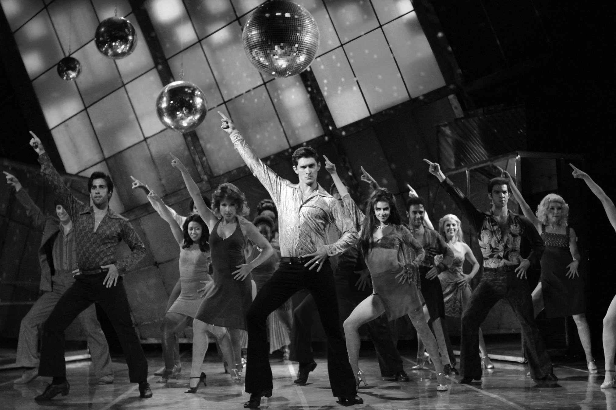 """Pictured is Luke Hamilton as Tony Manero with the cast of """"Saturday Night Fever the Musical,"""" on stage at the Ogunquit Playhouse Sept. 23 to Oct. 25."""