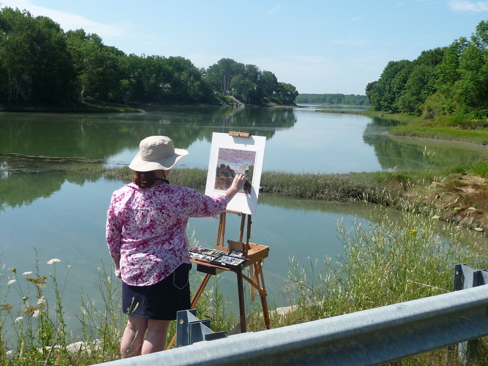 """Artist Kay Sullivan creates """"Summer Day"""" during the recent Wet Paint on the Weskeag! benefit auction."""