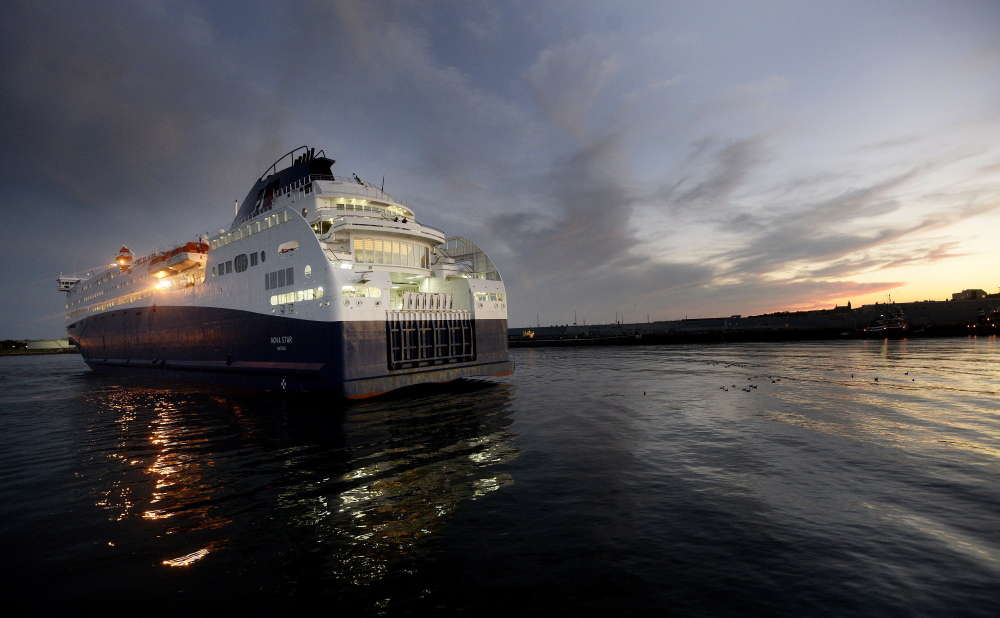 The Nova Star arrives at dusk in Portland Harbor about a year ago. Through August this year, the ferry had carried just 37,800 passengers, a 6 percent decrease from the 40,347 it had carried through August last year. Those numbers are remarkably low compared with the huge numbers of people who rode ferries across the Gulf of Maine in the past.