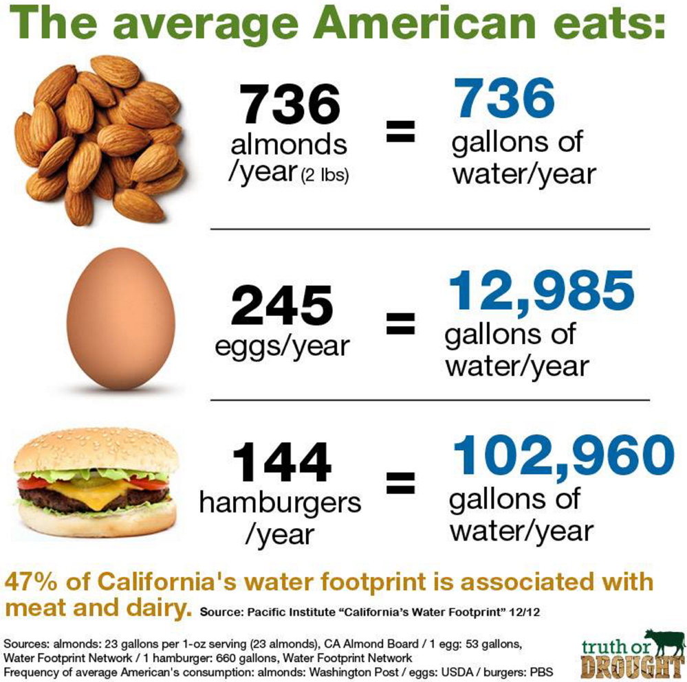 A chart from the grassroots group Truth or Drought compares water usage in the production of three familiar foods.