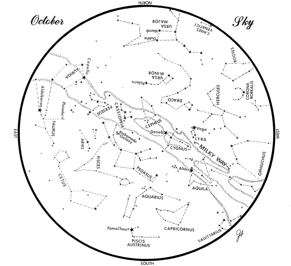 SKY GUIDE: This chart represents the sky as it appears over Maine during October. The stars are shown as they appear at 10:30 p.m. early in the month, at 9:30 p.m. at midmonth and at 8:30 p.m. at month's end. No planets are visible at chart time. To use the map, hold it vertically and turn it so that direction you are facing is at the bottom.