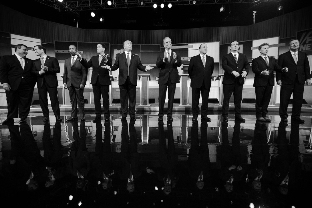 In this Aug. 6 file photo, Republican presidential candidates from left, Chris Christie, Marco Rubio, Ben Carson, Scott Walker, Donald Trump, Jeb Bush, Mike Huckabee, Ted Cruz, Rand Paul, and John Kasich take the stage for the first Republican presidential debate in Cleveland.