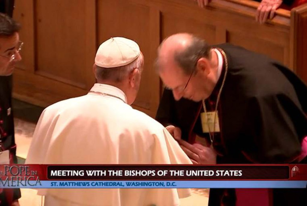 Maine's Bishop Robert P. Deeley greets Pope Francis in this still image taken from CatholicTV's presentation of midday prayers. Deeley was among a small group of bishops who had the opportunity to personally greet the pope.