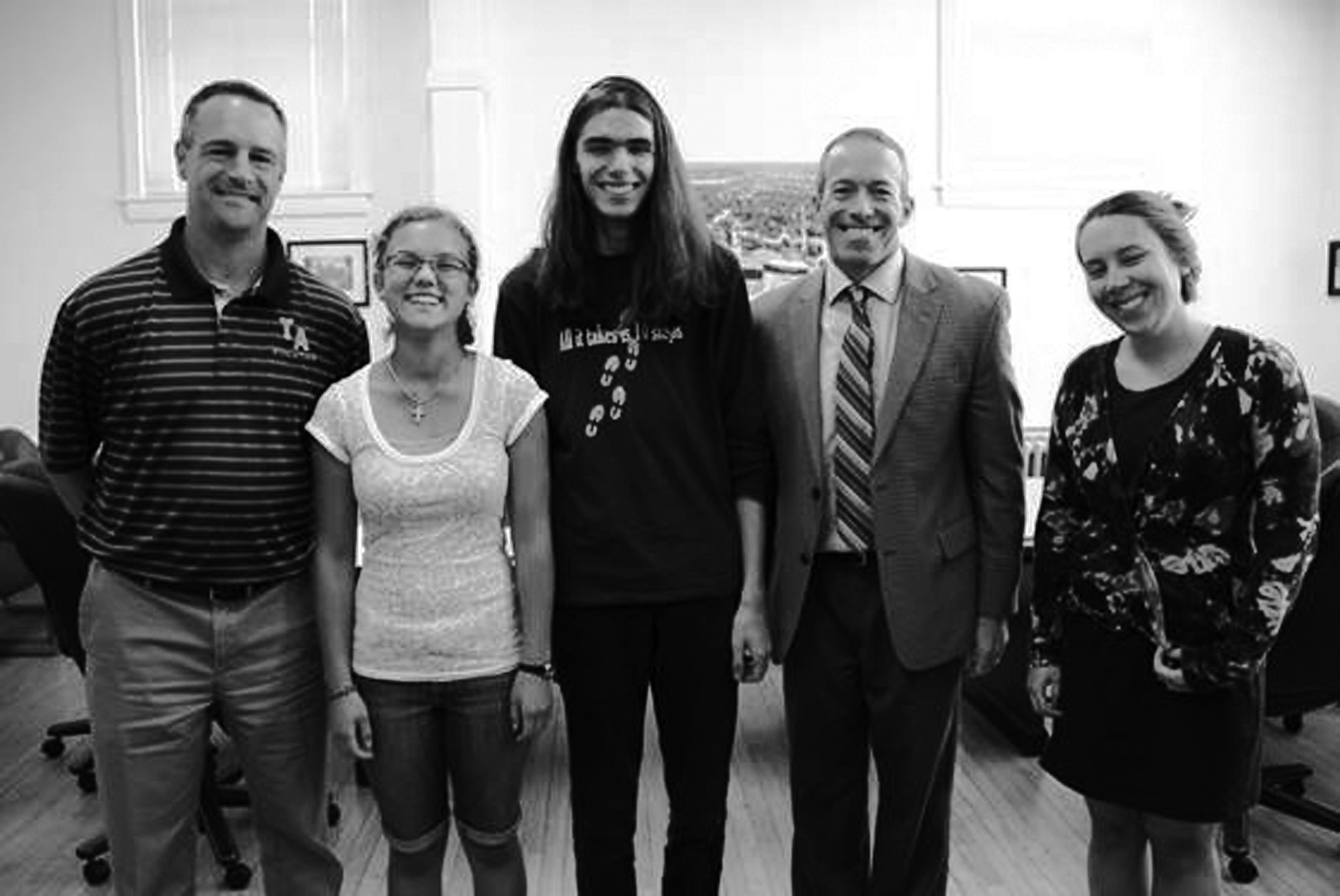 Picture caption: From left, Thornton Academy Guidance Counselor Jeff Camire, students Alanna Haslam and Tristan Falardeau, Thornton Academy Headmaster Rene Menard and Thornton Guidance Counselor Kelsey Ramsey.