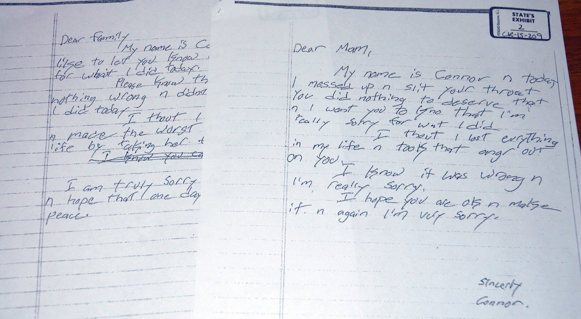 Pictured are letters written by Connor MacCalister to Wendy Boudreau and her family after MacCalster fatally stabbed Boudreau in the Saco Shaw's.