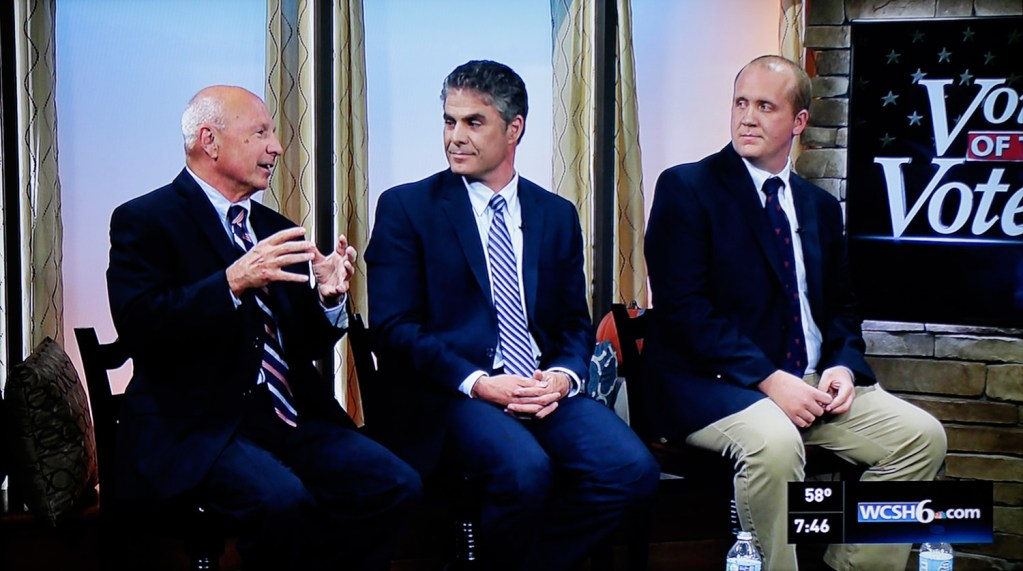 The candidates for mayor of Portland, left to right, Mayor Michael Brennan, Ethan Strimling and Thomas MacMillan, debate at WCSH-TV in Portland on Tuesday night. It was the fifth in a series of debates and forums leading up to the Nov. 3 election.