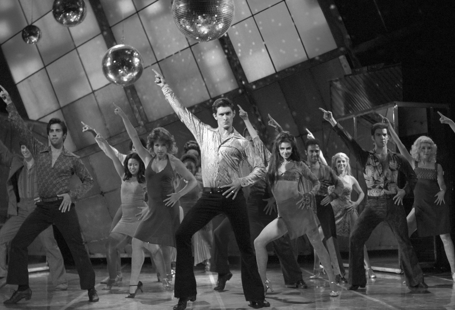 """Cast members of """"Saturday Night Fever"""" on stage at the Ogunquit Playhouse."""