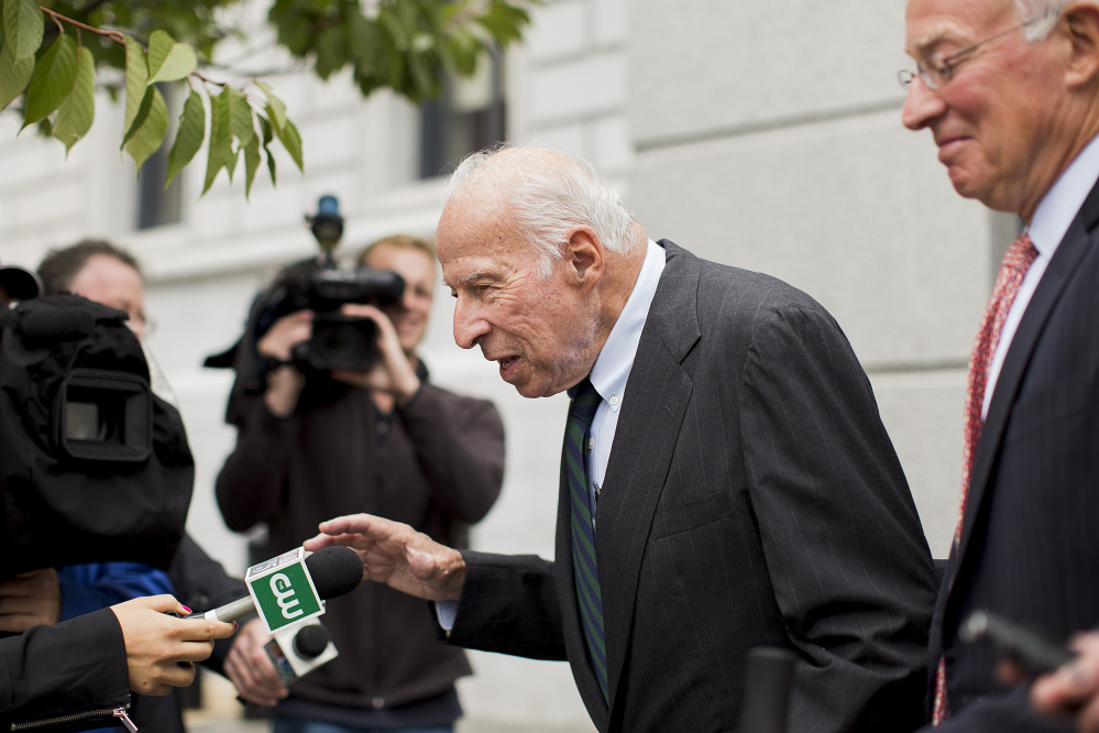 """Russell """"Rusty"""" Brace declines to comment as he leaves the Portland courthouse in October 2015."""