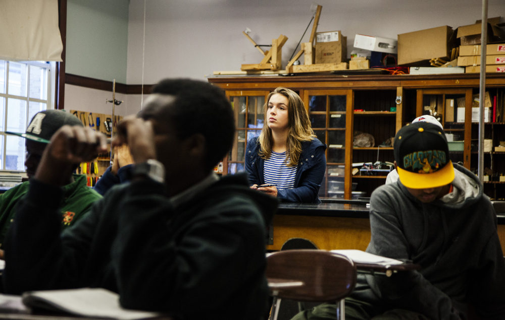 Portland High School student Emily Couture listens in her engineering class, which can be taken for college credit through a program with partnering school the Rochester Institute of Technology. Early college programs are a growing trend across the U.S.