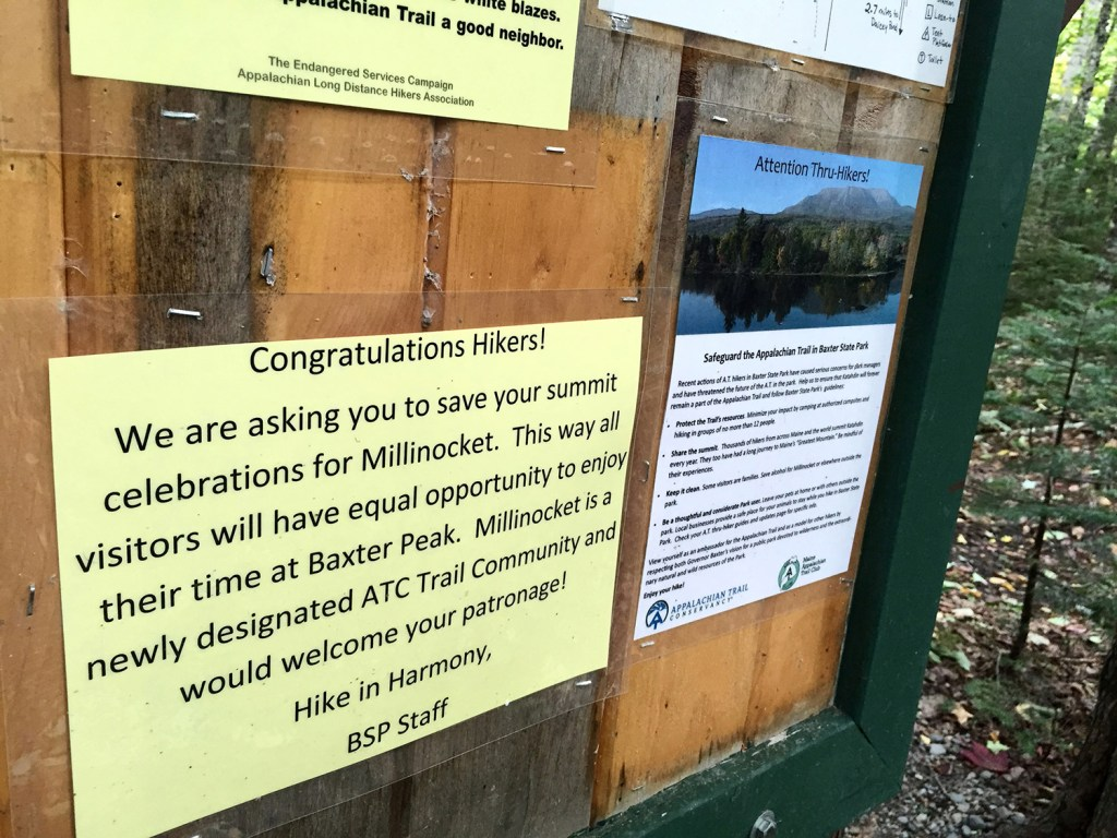 Baxter State Park rangers have taken to posting these notices at shelters for Appalachian Trail thru-hikers to discourage flamboyant celebrations on top of Mount Katahdin or elsewhere in the park.