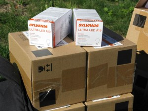 LED light bulb boxes for delivery on Matinicus Island.