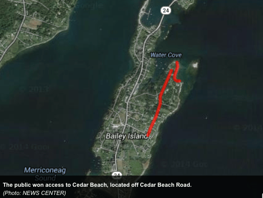 Cedar Beach is off Cedar Beach Road on Bailey Island in Harpswell. The Maine Supreme Judicial Court heard arguments Wednesday in the appeal of a case that granted the public use of Cedar Beach Road.