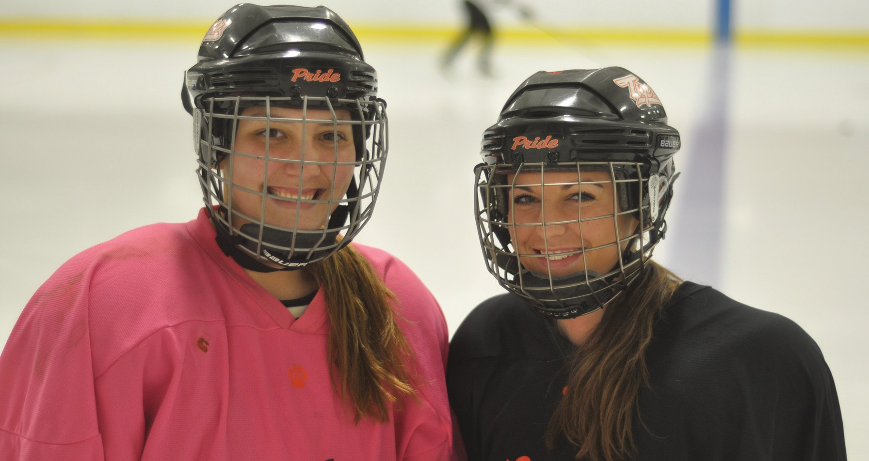 Biddeford captains Suzette Lamoureux (left) and Taylor Turgeon during warmups Monday in Biddeford.