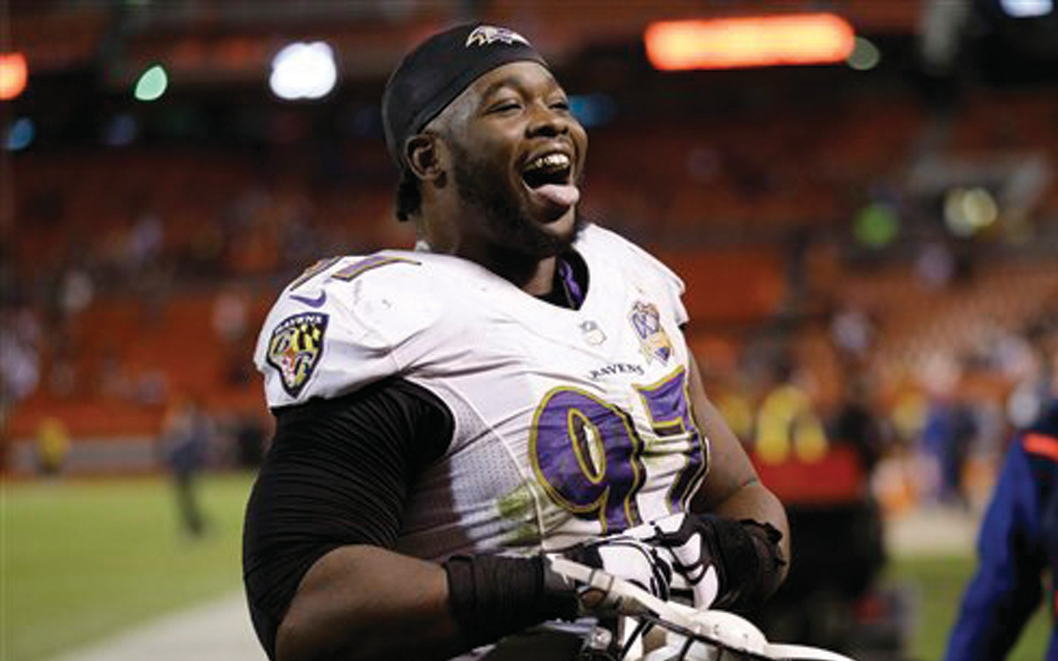 Baltimore Ravens defensive end Timmy Jernigan reacts after a 33-27 win over the Cleveland Browns on Monday in Cleveland.