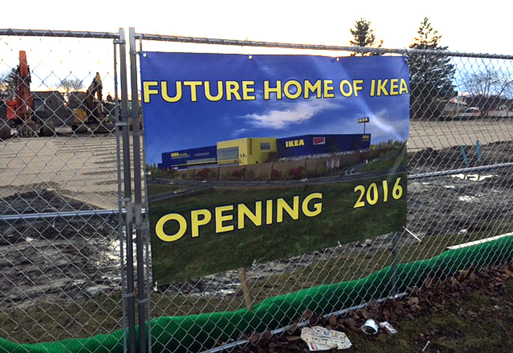 It is still a mystery who placed this sign announcing the opening of an IKEA store on a fence around the site where the Jewish Community Alliance is building a community center on outer Congress Street in Portland. Photo courtesy of Gary Berenson
