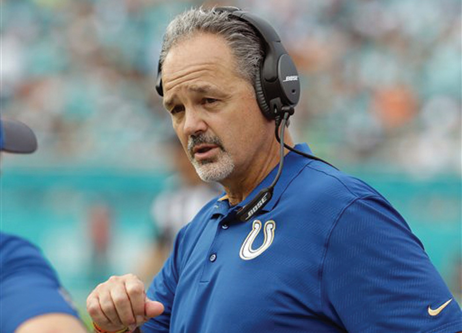 Indianapolis Colts head coach Chuck Pagano talks on the sidelines during the first half of a game against the Miami Dolphins in Miami Gardens, Fla.