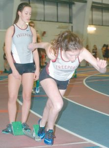 THE FREEPORT HIGH SCHOOL indoor track team team competed in a Western Maine Conference meet at the University of Southern Maine on Friday. In the photos, beginning at the top, Maddie Squibb launches off the block in the 200 meter dash as teammate Jemaya Nelsonwood looks on. In the bottom left, Erik Brobst runs around the track in the boys 1-mile run. Grace Schnyder competes in the shotput in the middle photo. On the right, Andrew St. John carries the baton in the senior 200- meter relay event. Turn to B4 for full meet results.