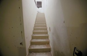 """STAIRS LEAD to the second floor of the home where marines searched for Mexican drug lord Joaquin """"El Chapo"""" Guzman in Los Mochis, Mexico, Monday."""