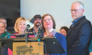 ANNA MCDOUGAL of Wiscasset and an artist at Spindleworks in Brunswick addressed the crowd at a press conference at the Statehouse in Augusta. A new rule may cut funding for many in Maine with developmental or intellectual disabilities.