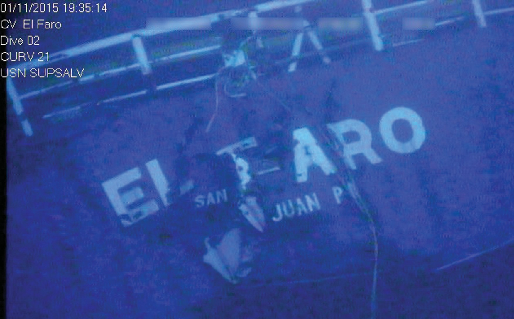 In this photograph released by the National Transportation Safety Board, the damaged stern of the sunken freighter El Faro is seen on the seafloor, 15,000 feet deep near the Bahamas.