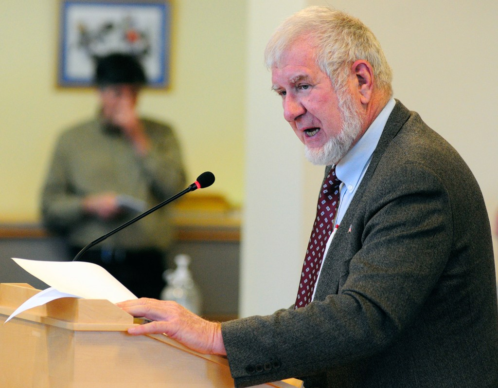 "Sen. David Woodsome, R-North Waterboro, introduces his bill Thursday before the Legislature's Health and Human Services Committee. He said, ""When I say this legislation is a matter of life and death, I am not exaggerating."" Joe Phelan/Kennebec Journal"