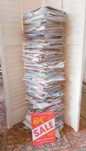"""TIMES RECORD READER Christina Oddleifson of Brunswick writes: """"Since the very beginning of 2015, I have collected retail catalogs sent to me via the USPS for the entire year. Only retail. I shop online occasionally but one would never know that; piled high, the stack of catalogs reaches over five feet."""" Oddleifson said that amounts to 300 retail catalogs sent to her alone."""