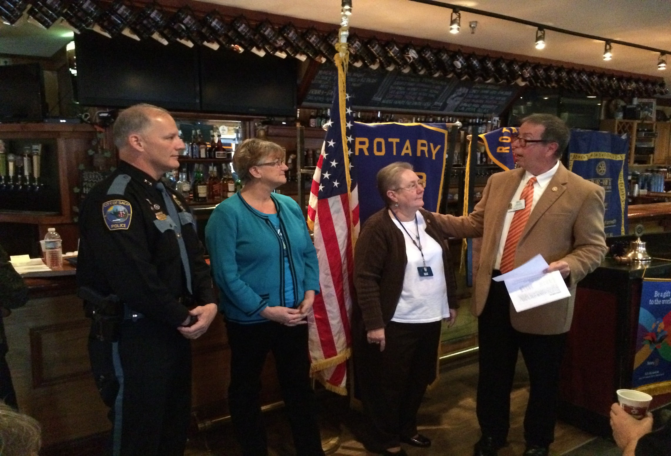 From left, Saco Bay Rotary Club members Bradley Paul, Joanne Landry, Pam Gallo and Dru Laduke at a recent recognition ceremony at Jimmy the Greek's in Old Orchard Beach.