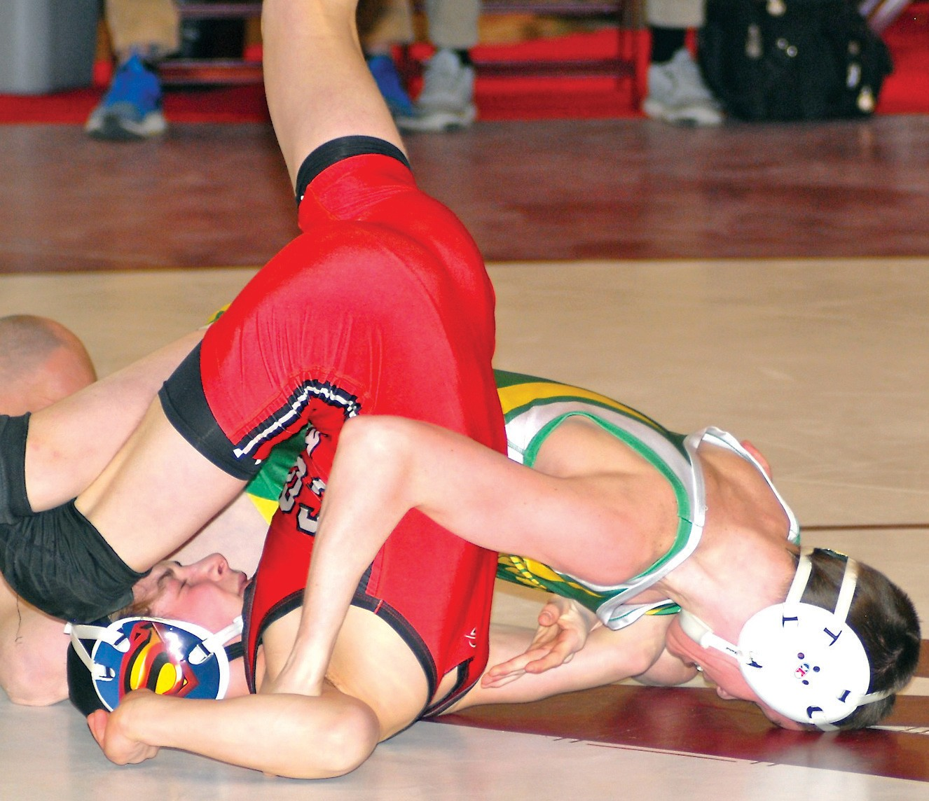 Massabesic's Leo Amabile pins Cony's Noah Dumas in the 106-pound semifinals at Saturday's Class A Wrestling Championships. Amabile finished in second place.