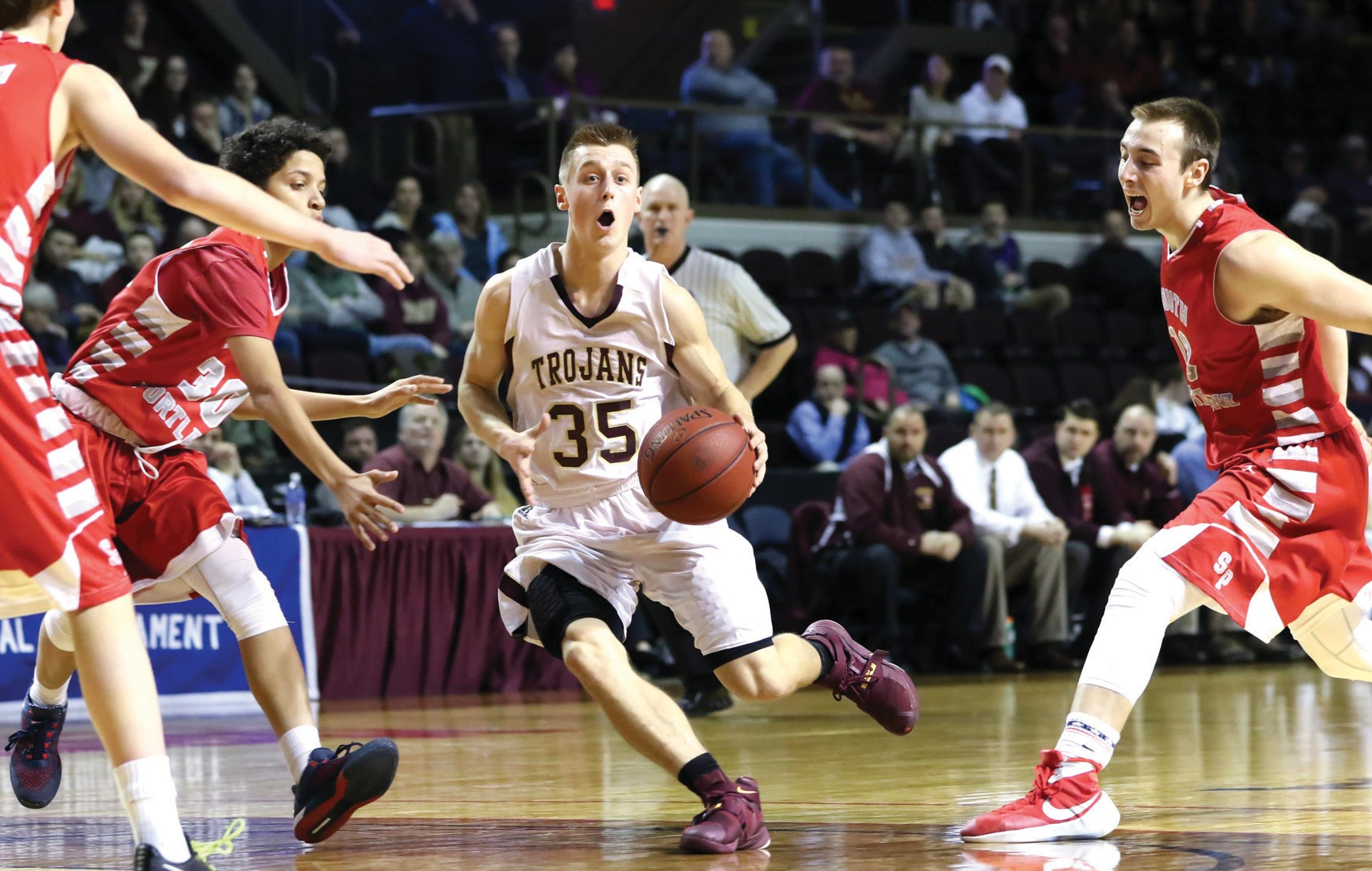 Thornton Academy's Jack Tilley drives to the basket during Tuesday's Class AA semifinal game against South Portland.
