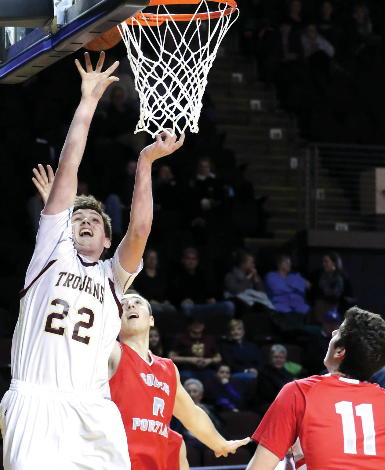 Thornton Academy's David Keohan goes up for a shot during Tuesday's Class AA South semifinal game against South Portland.