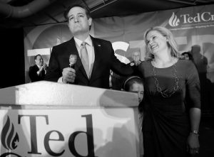 REPUBLICAN PRESIDENTIAL CANDIDATE, Sen. Ted Cruz, R-Texas, arrives for a caucus night rally with his wife Heidi, and daughter Caroline, 7, Monday in Des Moines, Iowa.
