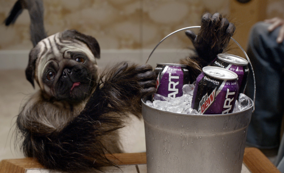 """The """"Puppymonkeybaby"""" appears in a scene from Kickstart's ad spot for Super Bowl 50."""