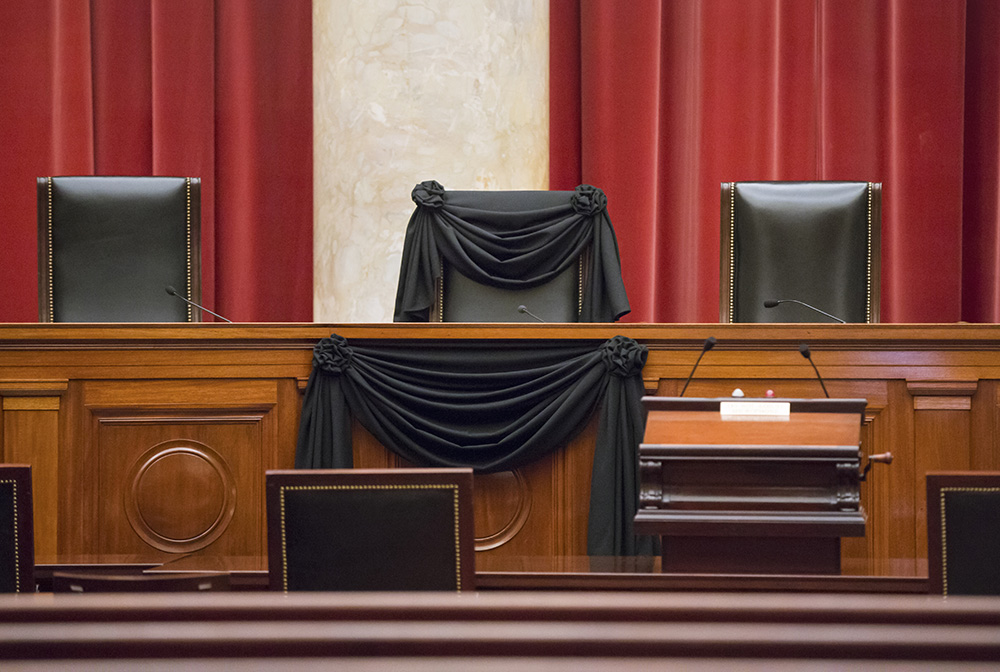 Supreme Court Justice Antonin Scalia's courtroom chair is draped in black to mark his death – a tradition that dates to the 19th century. The Associated Press