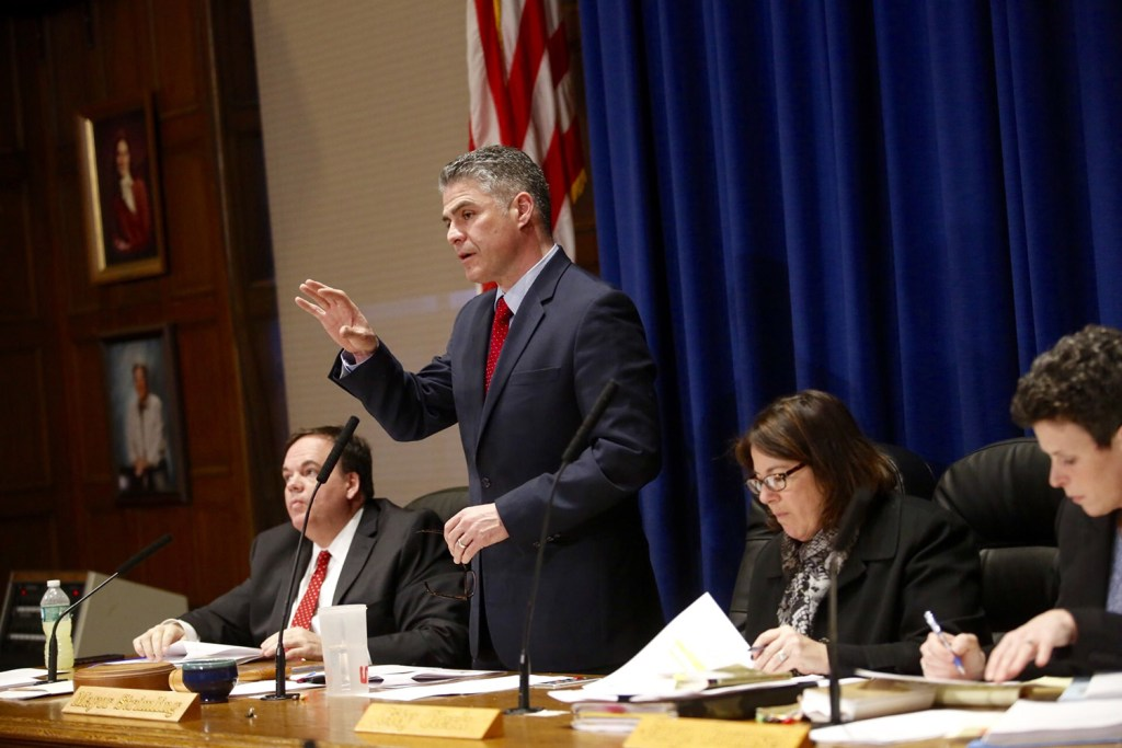 Portland Mayor Ethan Strimling speaks at Wednesday's City Council hearing and vote on the fate of a historic waterfront building at the Portland Co. site.