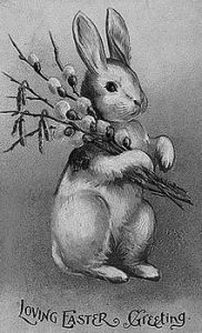 A 1907 POSTCARD featuring the Easter Bunny.