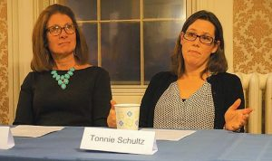 TONNIE SCHULTZ, owner of Café Creme in Bath, right, shares what it was like to start up her business with an audience at the Bath Cosmopolitan Club on Wednesday.