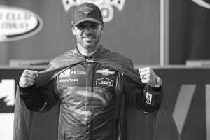 DRIVER JIMMIE JOHNSON poses for a photo after winning the Auto Club 400 NASCAR Sprint Cup Series race at Auto Club Speedway on Sunday, in Fontana, Calif.