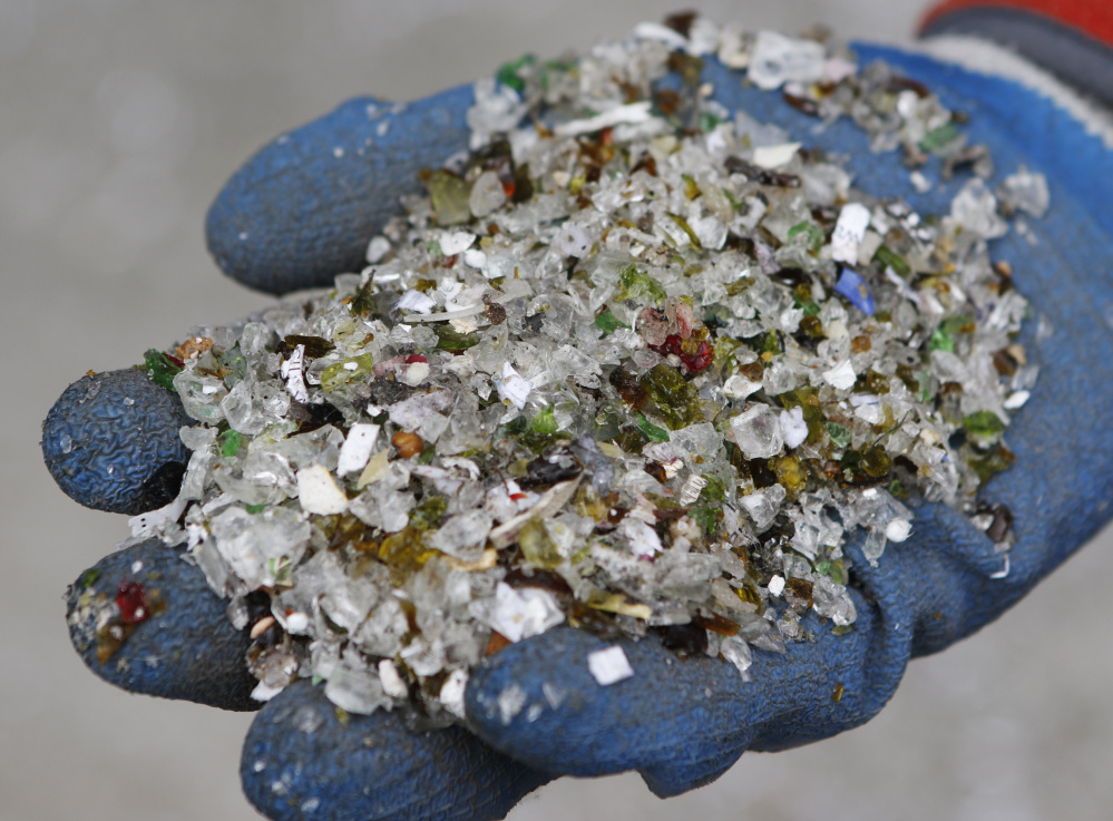 At ecomaine, recycled glass is being crushed and stockpiled, slated for use as aggregate for drainage and road projects. It still makes sense to take the glass out of the waste stream.