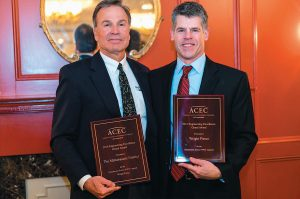 JOHN BRACCIO, LEFT, Wright-Pierce CEO and president, served as principal-in-charge of the Mattabassett project. Braccio and Therlin Montgomery, project engineer, received the 2016 Grand Award at the annual ACEC/CT awards reception.
