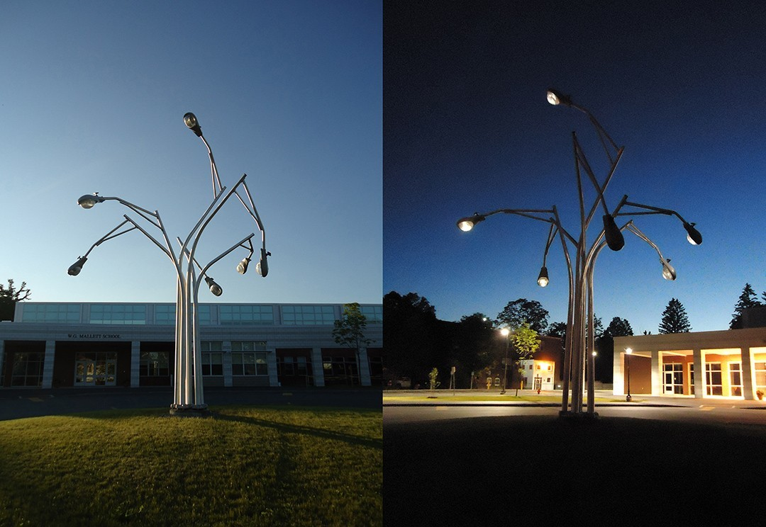 """Illuminations,"" a sculpture by Aaron Stephan installed at the W.G. Mallet School in Farmington, Maine. Courtesy of the artist's website."